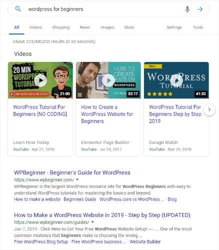 WordPress за начинаещи търсене в Google